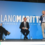 Foto Nicoloro G.   04/08/2020  Cervia ( RA )   Ultima giornata della Festa della Lega Romagna. nella foto da sinistra Bianca Berlinguer, Luca Zaia e Maurizio Belpietro.
