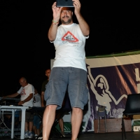 Foto Nicoloro G.  25/07/2015  Cervia ( Ravenna )  Festa Nazionale della Lega Nord Romagna. nella foto Matteo Salvini appena salito sul palco fa una serie di foto al numeroso pubblico che lo aspetta.