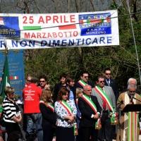 Foto Nicoloro G. 25/04/2013 Marzabotto ( Bologna ) Celebrazione della Festa della Liberazione in questo paese che durante la Seconda guerra mondiale subì una strage perpetrata dai nazisti. nella foto Il palco degli oratori