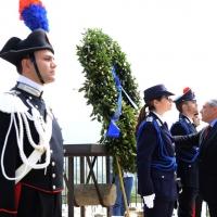 Foto Nicoloro G. 25/04/2013 Marzabotto ( Bologna ) Celebrazione della Festa della Liberazione in questo paese che durante la Seconda guerra mondiale subì una strage perpetrata dai nazisti. nella foto Il Presidente del Senato, Pietro Grasso rende omaggio ai caduti nella strage