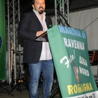 Foto Nicoloro G. 26/07/2012 Marina di Ravenna Il neo segretario federale Roberto Maroni interviene alla festa nazionale della Lega Nord Romagna. nella foto Gianluca Pini