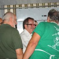 Foto Nicoloro G. 26/07/2012 Marina di Ravenna Il neo segretario federale Roberto Maroni interviene alla festa nazionale della Lega Nord Romagna. nella foto Roberto Maroni e alcuni militanti