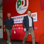 Foto Nicoloro G.   25/08/2019   Ravenna   Festa Nazionale dell' Unita'. nella foto lo scrittore Gianrico Carofiglio, a sinistra, e il giornalista Massimo Giannini.