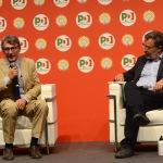 Foto Nicoloro G.   31/08/2019   Ravenna    Festa Nazionale dell' Unita'. nella foto il presidente del Parlamento Europeo David Sassoli, a sinistra, e il direttore dell' Espresso Marco Damilano.