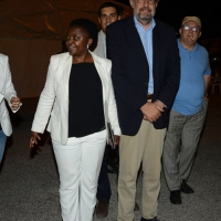 Foto Nicoloro G.  31/08/2014   Ravenna    Festa Provinciale de L' Unità. nella foto la parlamentare europea Cècile Kyenge con il sindaco di Ravenna Fabrizio Matteucci.