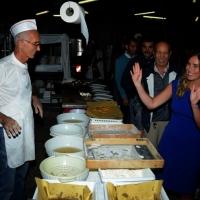 Foto Nicoloro G.  01//09/2014   Ravenna    Festa Provinciale de L' Unità. nella foto il ministro Maria Elena Boschi, dopo l' intervista, visita gli stand gastronomici della Festa e salutare i volontari che ci lavorano.