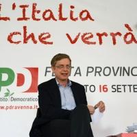 """Foto Nicoloro G. 11/09/2013 Ravenna Festa provinciale del PD di Ravenna che ha come slogan """" L' Italia che verrà """". nella foto Gianni Cuperlo"""