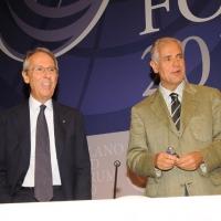 """Foto Nicoloro G. 13/07/2010 Milano, Seconda giornata del """" Forum Economico e Finanziario per il Mediterraneo """". nella foto Bruno Ermolli – Roberto Formigoni"""