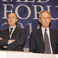 """Foto Nicoloro G. 13/07/2010 Milano, Seconda giornata del """" Forum Economico e Finanziario per il Mediterraneo """". nella foto Corrado Passera – Bruno Ermolli"""