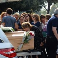 Foto Nicoloro G.    18/09/2015   Ravenna    Si sono svolti i funerali di Sergio Guerra, ' l' ultimo artigiano del Volley ' tra i piu' vittoriosi di tutti i tempi entrato nei Guinness dei primati. nelle foto la moglie Carla affranta dal dolore.