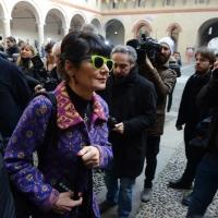 Foto Nicoloro G. 23/02/2016 Milano Cerimonia funebre laica in onore del semiologo e scrittore Umberto Eco. nella foto l' arrivo di Elisbetta Sgarbi.