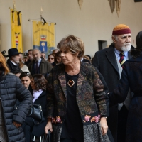 Foto Nicoloro G. 23/02/2016 Milano Cerimonia funebre laica in onore del semiologo e scrittore Umberto Eco. nella foto gli attori Lella Costa e Moni Ovadia.
