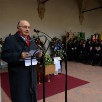 Foto Nicoloro G. 23/02/2016 Milano Cerimonia funebre laica in onore del semiologo e scrittore Umberto Eco. nella foto il presidente di Aldus Club Gianni Cervetti.