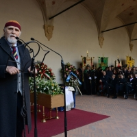 Foto Nicoloro G. 23/02/2016 Milano Cerimonia funebre laica in onore del semiologo e scrittore Umberto Eco. nella foto l' attore Moni Ovadia.