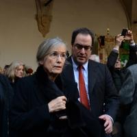 Foto Nicoloro G. 23/02/2016 Milano Cerimonia funebre laica in onore del semiologo e scrittore Umberto Eco. nella foto la moglie del professore Renate Ramge con il figlio Stefano.