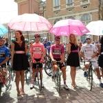 Foto Nicoloro G.   21/05/2019   Ravenna    10° tappa del 102° Giro d' Italia da Ravenna a Modena. nella foto pronti sulla linea di partenza della decima tappa da sinistra Giulio Ciccone, Valerio Conti, Pascal Ackermann e Nans Peters.