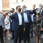Foto Nicoloro G.   25/08/2021   Ravenna    Visita in citta' del presidente del M5S in vista delle amministrative di ottobre. nella foto il presidente del M5S in citta' per le amministrative di ottobre si e' concesso una passeggiata per le vie del centro. Qui' e' con il sindaco Michele de Pascale che gli ha fatto da cicerone.