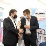 Foto Nicoloro G.   25/08/2021   Ravenna    Visita in citta' del presidente del M5S in vista delle amministrative di ottobre. nella foto Giuseppe Conte, a sinistra, con il sindaco Michele de Pascale.