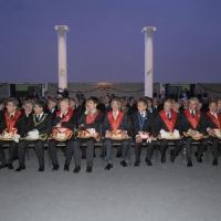 """Foto Nicoloro G. 01/04/2011 Rimini Assemblea 2011 del Grande Oriente d' Italia che riunisce tutte le Logge d' Italia sul tema dell' Unità d'Italia """" Dopo 150 anni per restare insieme"""". nella foto Alcuni massoni seduti in assemblea"""