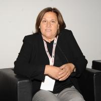 """Foto Nicoloro G. 12/10/2011 Milano Nona edizione dello """" IAB Forum """" che quest' anno ruota intorno al concept """" The New Normal """", due aggettivi antitetici per significare da un lato la raggiunta maturita' di Internet e dall' altro l' importanza dell' innovazione. nella foto Lucia Annunziata"""
