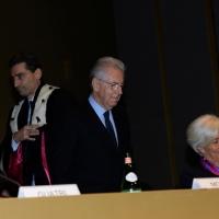 Foto Nicoloro G.  09/12/2014    Milano    Inaugurazione dell' Anno Accademico 2014-2015 dell' Università Bocconi. nella foto da sinistra  il rettore Bocconi Andrea Sironi. il  presidente Bocconi Mario Monti e il direttore generale del FMI Christine Lagarde.