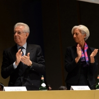 Foto Nicoloro G.  09/12/2014    Milano    Inaugurazione dell' Anno Accademico 2014-2015 dell' Università Bocconi. nella foto il  presidente Bocconi Mario Monti e il direttore generale del FMI Christine Lagarde.