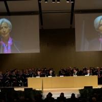 Foto Nicoloro G.  09/12/2014    Milano    Inaugurazione dell' Anno Accademico 2014-2015 dell' Università Bocconi. nella foto il direttore generale del FMI Christine Lagarde durante il suo intervento.