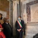 15/05/2021   Ravenna  Inaugurazione del Museo Dante alla presenza del ministro dell' Istruzione. nella foto il Ministro Patrizio Bianchi visita la tomba di Dante accompagnato dal sindaco Michele de Pascale.