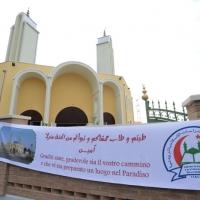 Foto Nicoloro G. 04/10/2013 Ravenna Inaugurazione della seconda più grande Moschea d' Italia dopo quella di Roma. nella foto Lo striscione davanti alla Moschea