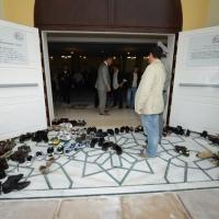 Foto Nicoloro G. 04/10/2013 Ravenna Inaugurazione della seconda più grande Moschea d' Italia dopo quella di Roma. nella foto Le calzature depositate all'ingresso della Moschea