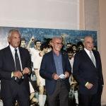 Foto Nicoloro G.   02/09/2021   Fusignano ( Ra )   Inaugurazione della mostra dedicata ad Arrigo Sacchi dal titolo  ' Oltre il sogno. L' emozione del calcio totale di Arrigo Sacchi '. nella foto da sinistra  Gabriele Gravina, presidente FIGC, Arrigo Sacchi e Adriano Galliani.