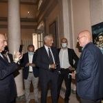 Foto Nicoloro G.   02/09/2021   Fusignano ( Ra )   Inaugurazione della mostra dedicata ad Arrigo Sacchi dal titolo  ' Oltre il sogno. L' emozione del calcio totale di Arrigo Sacchi '. nella foto da sinistra Adriano Galliani, Gabriele Gravina e Arrigo Sacchi.
