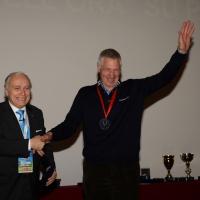 Foto NicoloroG.  04/12/2013  Milano   Trentunesima edizione del '' Milano International Ficts Fest ''. nella foto il presidente Ficts Franco Ascani e il campione di ciclismo Francesco Moser.