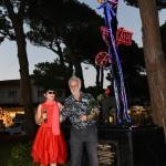 Foto Nicoloro G.   06/08/2020   Milano Marittima-Cervia  ( RA )  Inaugurazione del monumento ' La Rosa della Milanesiana di Riviera ', opera dell' artista Marco Lodola e donato dalla Fondazione Elisabetta Sgarbi al comune di Cervia. nella foto Elisabetta Sgarbi con l' artista Marco Lodola.
