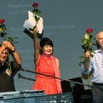 Foto Nicoloro G.   06/08/2020  Cervia  ( RA )  Serata conclusiva per La Milanesiana in Emilia-Romagna. nella foto il musicista Paolo Fresu, a sinistra, Elisabetta Sgarbi e il sindaco di Cervia Massimo medri.