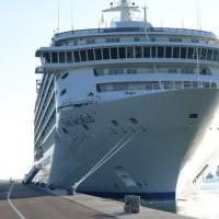 """Foto Nicoloro G. 17/10/2013 Porto Corsini ( Ravenna ) Al terminal di Porto Corsini (RA) è approdata la nave """" The World """", chiamata anche """" il condominio galleggiante """" perchè i 165 croceristi sono anche i proprietari delle lussuose cabine del valore di due milioni di euro. Batte bandiera delle Bahamas e sono queste le sue caratteristiche: 44.000 tonnellate di stazza, lunga 200 metri, alta 30 metri, 12 ponti, 165 appartamenti, 4 bar, 4 ristoranti, piscine, cinema, biblioteca, campo da tennis e da golf, un centro benessere. nella foto La nave """"The World"""" all'attracco"""