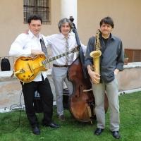 """Foto Nicoloro G. 05/06/2010 Cremona Primo Festival TRA Letteratura e Musica """" Le corde dell ' anima """" . nella foto Il trio jazz Tartamella Bozza Bridge"""