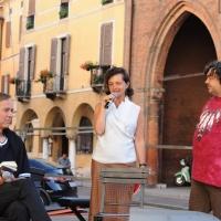 """Foto Nicoloro G.  04/06/2010  Cremona  Primo Festival TRA Letteratura e Musica """" Le corde dell ' anima """" . nella foto Bjorn Larsson – Anna Folli – Luca Crovi"""