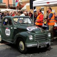 Foto Nicoloro G. 16/05/2014  Ravenna    La 32° edizione della 1000 Miglia, con le sue 435 auto, passa da Ravenna. nella foto una vecchia  Fiat Topolino.