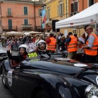 Foto Nicoloro G. 16/05/2014  Ravenna    La 32° edizione della 1000 Miglia, con le sue 435 auto, passa da Ravenna. nella foto un' auto con uno dei numerosi equipaggi giapponesi riparte dopo la timbratura del passaggio.