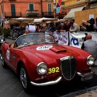 Foto Nicoloro G. 16/05/2014  Ravenna    La 32° edizione della 1000 Miglia, con le sue 435 auto, passa da Ravenna. nella foto tra i partecipanti Paloma Picasso su un modello Lancia.
