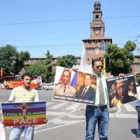 Foto Nicoloro G. 03/07/2011 Milano Manifestazione in piazza Castello dei cristiani copti che vivono in Italia per affermare la liberta' di culto e fermare i massacri dei cristiani copti in Egitto. nella foto Ihab Hinna