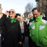 Foto Nicoloro G. 22/01/2012 Milano Manifestazione con corteo della Lega Nord contro il governo Monti. nella foto Davide Boni – Roberto Calderoli