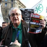 Foto Nicoloro G. 22/01/2012 Milano Manifestazione con corteo della Lega Nord contro il governo Monti. nella foto Mario Borghezio