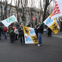 Foto Nicoloro G. 22/01/2012 Milano Manifestazione con corteo della Lega Nord contro il governo Monti. nella foto Manifestanti bandiere