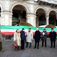Foto Nicoloro G. 22/01/2012 Milano Manifestazione con corteo della Lega Nord contro il governo Monti. nella foto Manifestanti e striscione