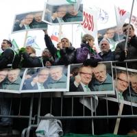 Foto Nicoloro G. 22/01/2012 Milano Manifestazione con corteo della Lega Nord contro il governo Monti. nella foto Manifestanti, bandiere e cartelli