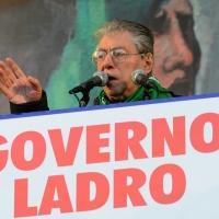 Foto Nicoloro G. 22/01/2012 Milano Manifestazione con corteo della Lega Nord contro il governo Monti. nella foto Umberto Bossi