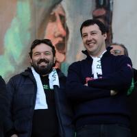 Foto Nicoloro G. 22/01/2012 Milano Manifestazione con corteo della Lega Nord contro il governo Monti. nella foto Gianluca Pini – Matteo Salvini