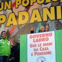 Foto Nicoloro G. 22/01/2012 Milano Manifestazione con corteo della Lega Nord contro il governo Monti. nella foto Luca Zaia – Roberto Calderoli – Umberto Bossi – Roberto Maroni